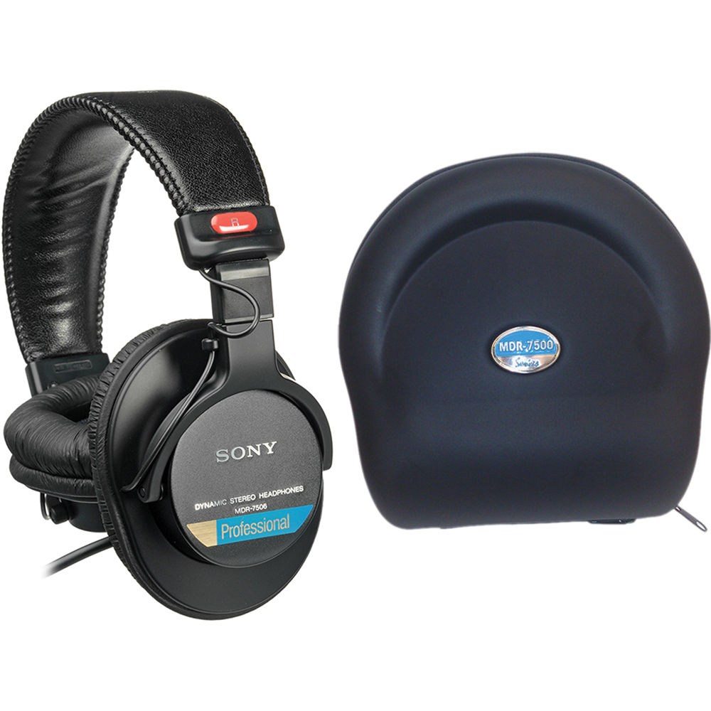 sony mdr 7506 pro folding headphones with carry case kit b h. Black Bedroom Furniture Sets. Home Design Ideas