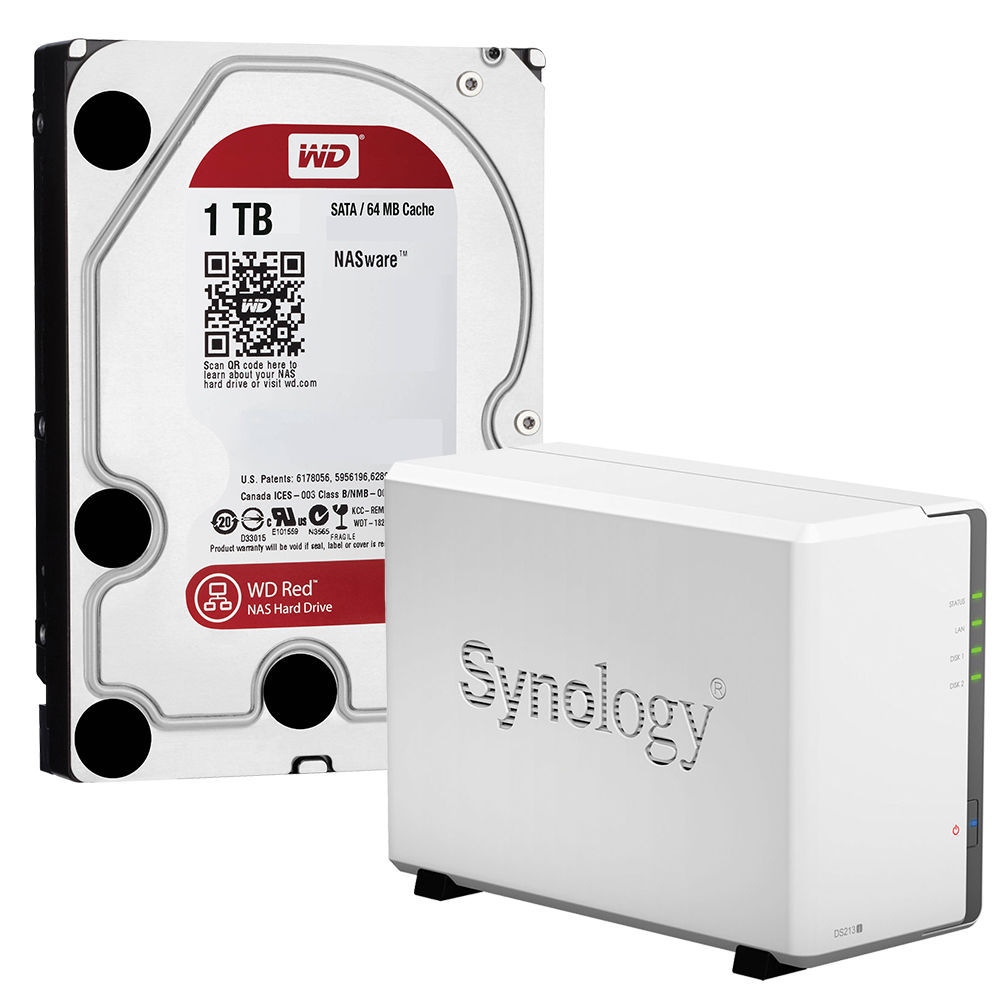 Synology DiskStation DS213J 2TB (2 x 1TB) 2-Bay NAS Server Kit with