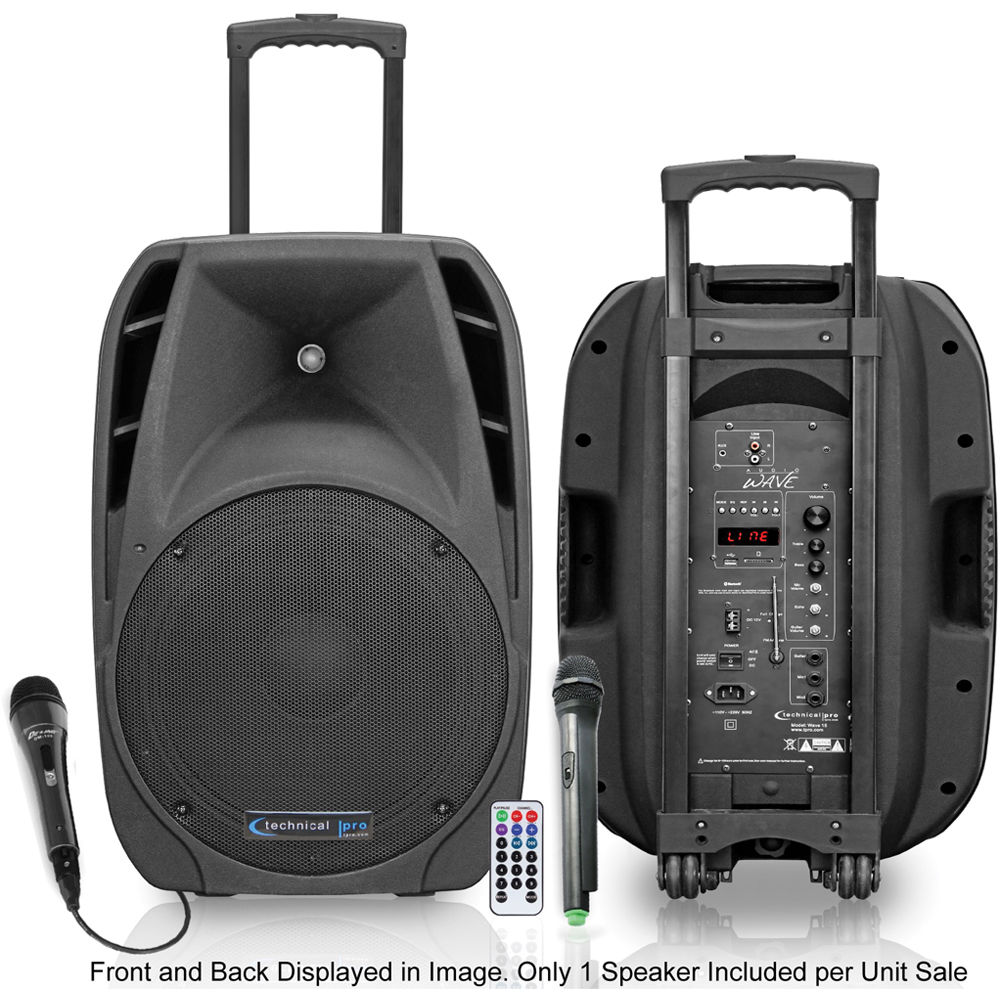 technical pro wave 12 rechargeable portable pa system wave12 b h. Black Bedroom Furniture Sets. Home Design Ideas