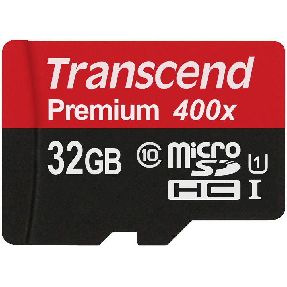 MicroSDHC Transcend 32GB Class10 + Адаптер (TS32GUSDHC10)