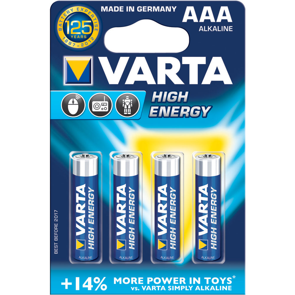 varta aaa 1 5v alkaline batteries 4 pack v4903121414 b h photo. Black Bedroom Furniture Sets. Home Design Ideas