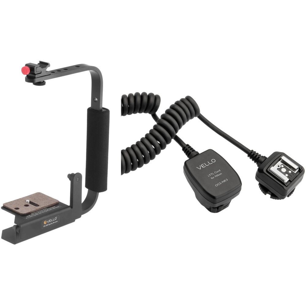 Photography Flash Brackets: Vello Speedy Camera Rotating Flash Bracket With TTL CB-200-KN