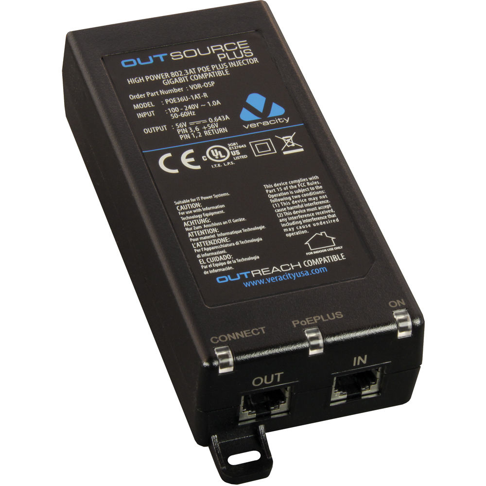 Veracity Outsource Plus Midspan PoE Plus Injector VOR-OSP B&H