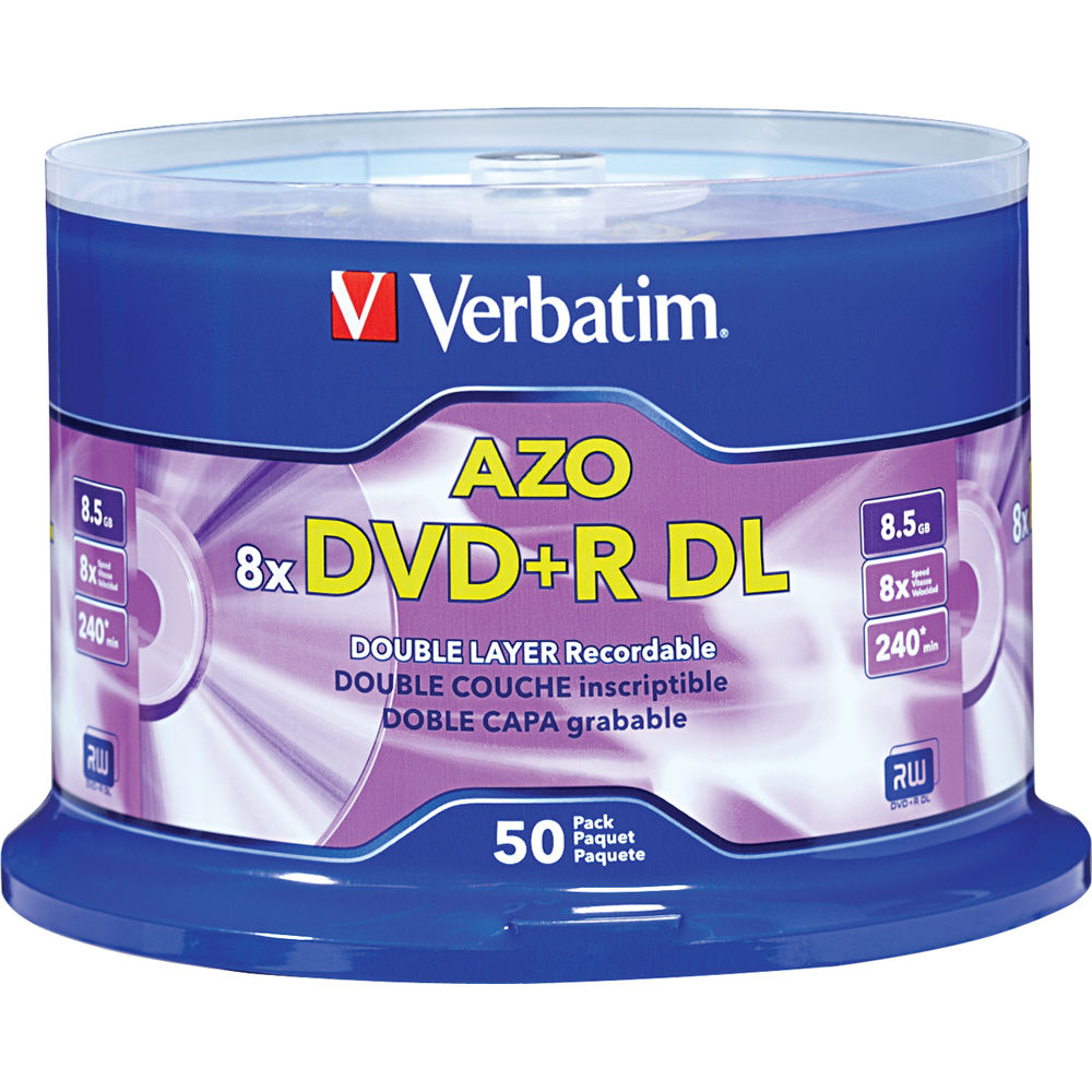 verbatim dvd r double layer 8 5gb 8x recordable disc 97000 b h. Black Bedroom Furniture Sets. Home Design Ideas