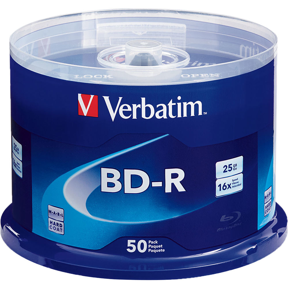 888d7167b Verbatim 25GB BD-R Blu-ray 16x Discs (50-Pack Spindle) 98397Q