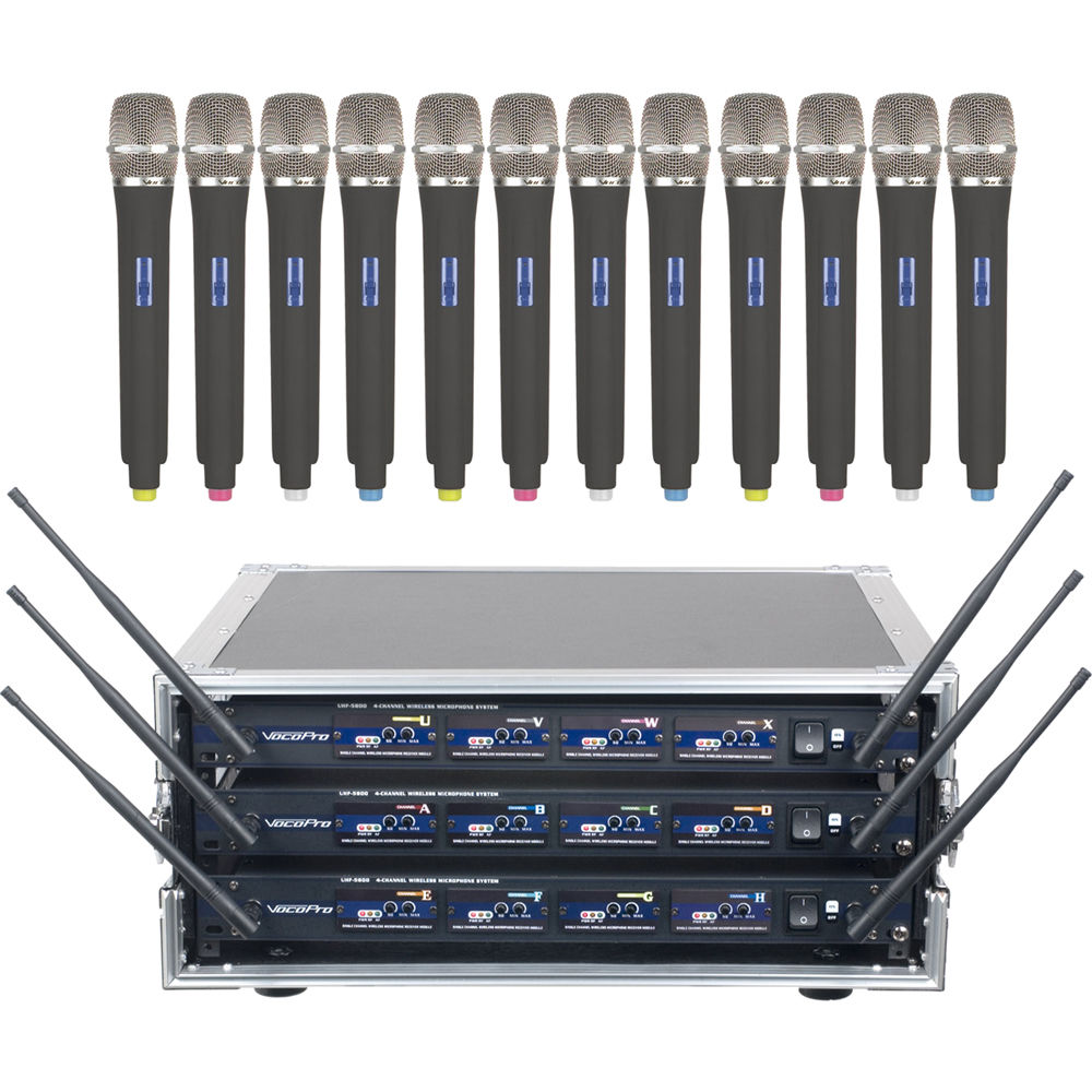 VocoPro    UHF-5800-C12 Professional 4-Channel UHF Wireless Microphone Kit with Flight Case