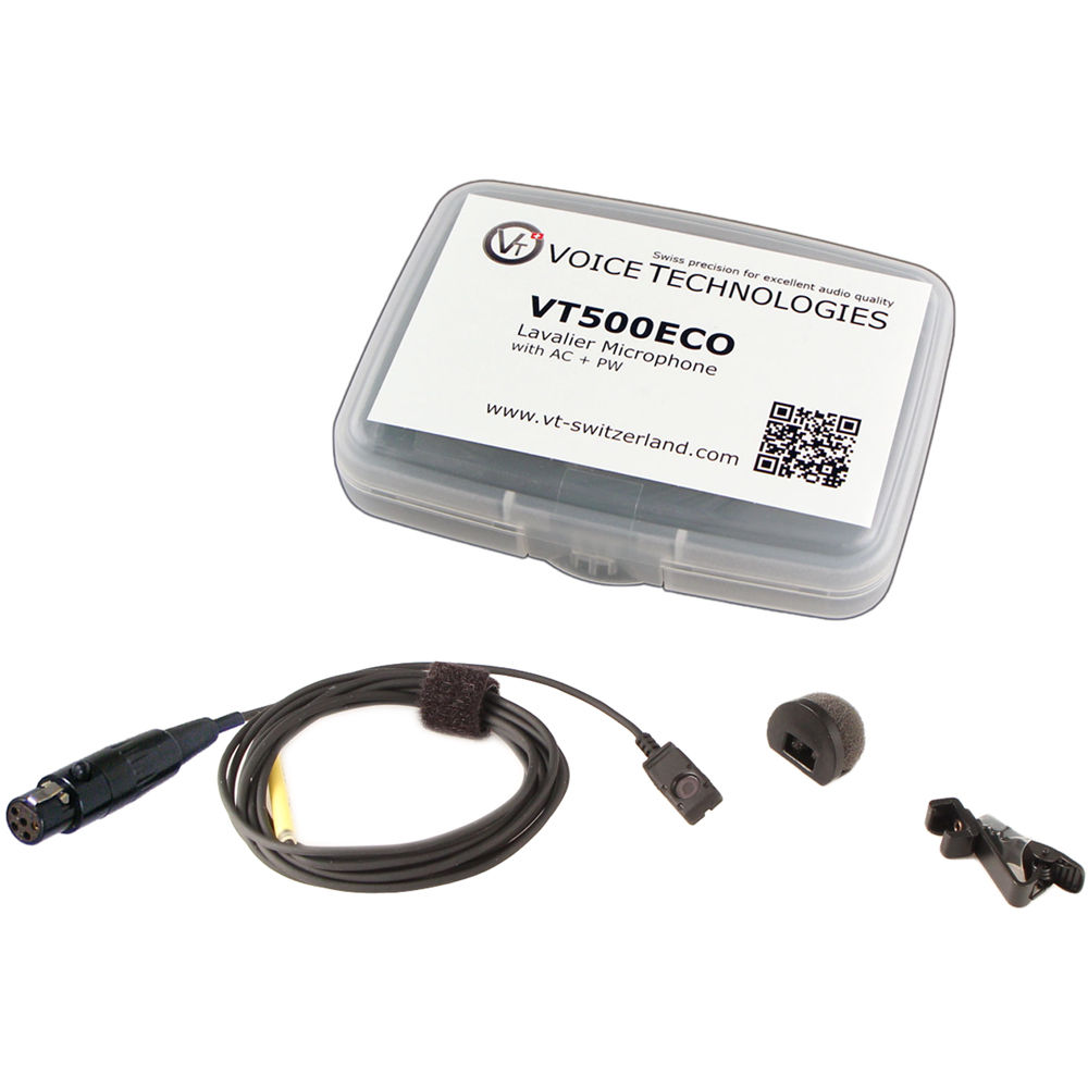 voice technologies vt500eco omnidirectional miniature lavalier microphone  economy package (ta5f connector for lectrosonics, black