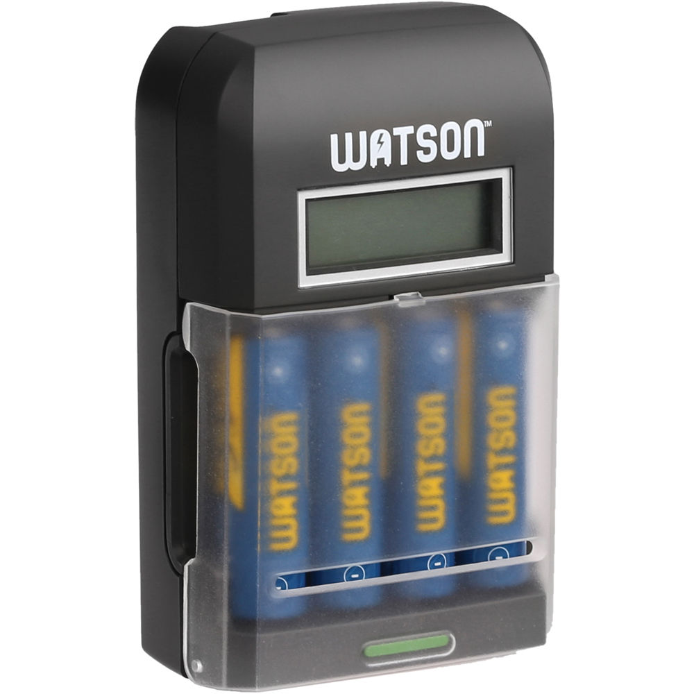 Watson 4 Bay Rapid Charger With LCD And AA NiMH Batteries 2300mAh