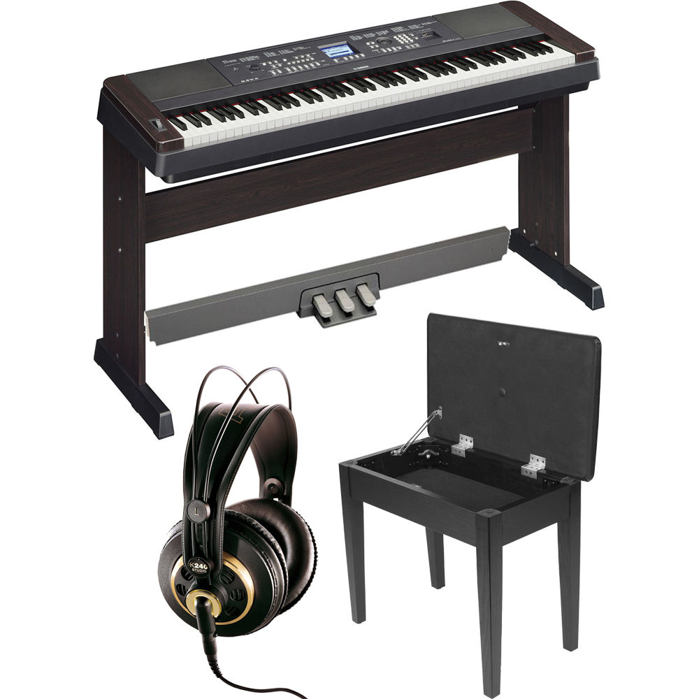 yamaha dgx 650 portablegrand piano expansion kit black b h. Black Bedroom Furniture Sets. Home Design Ideas