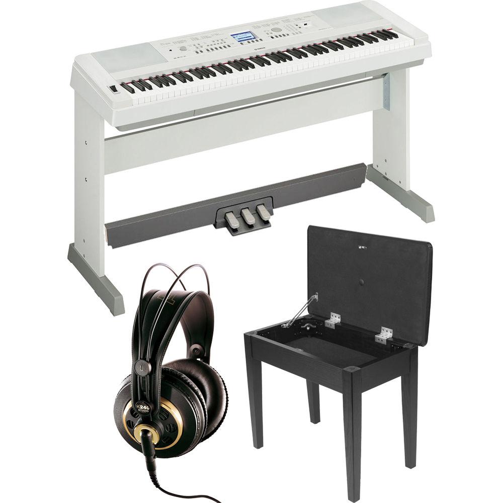 Yamaha dgx 650 portablegrand piano expansion kit white b h for Yamaha 650 piano