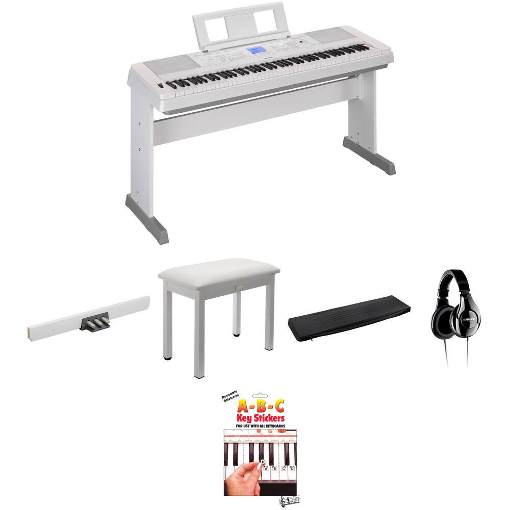 Yamaha dgx 660 home studio kit with pedals bench and studio for Yamaha white piano bench