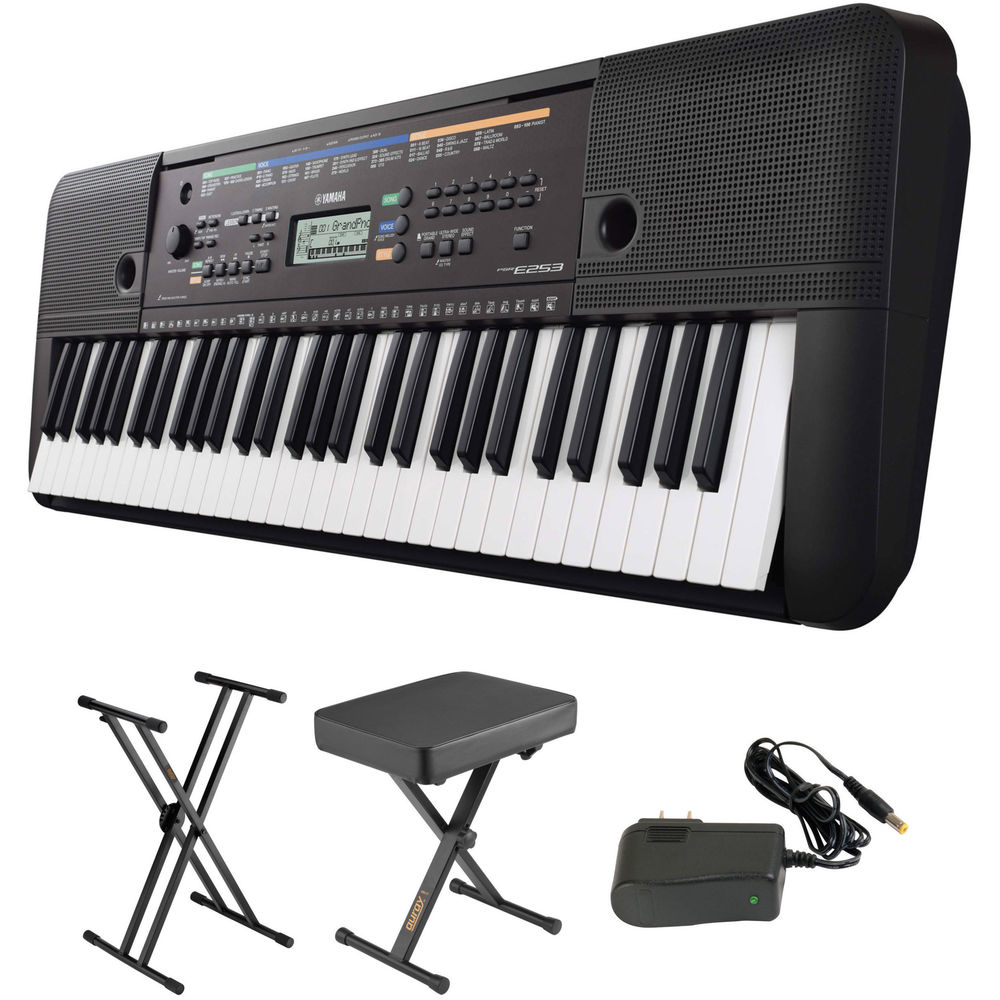 yamaha psr e253 portable keyboard kit with stand bench and. Black Bedroom Furniture Sets. Home Design Ideas