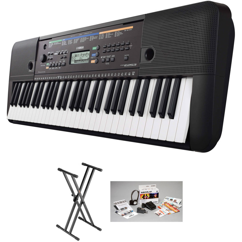 yamaha psr e253 portable keyboard value bundle b h photo video. Black Bedroom Furniture Sets. Home Design Ideas