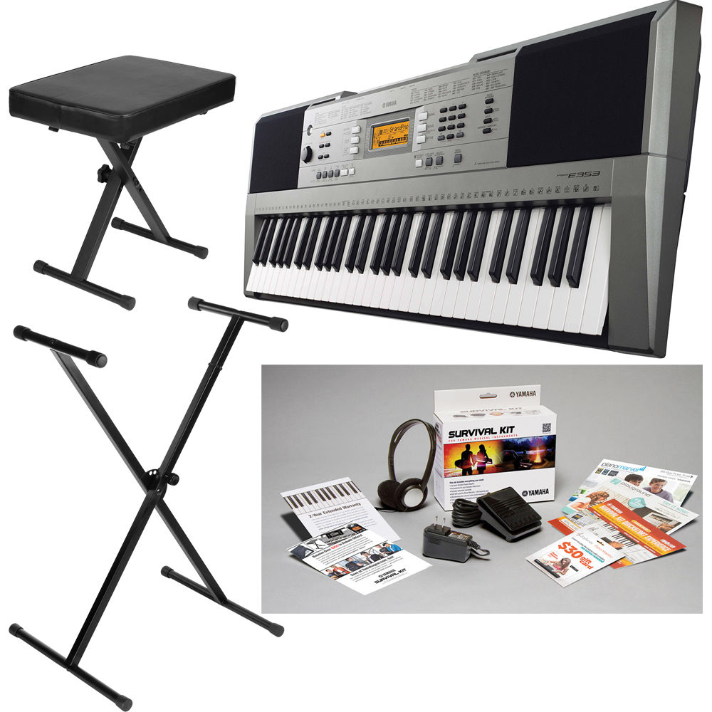 yamaha psr e353 portable keyboard value bundle b h photo video. Black Bedroom Furniture Sets. Home Design Ideas