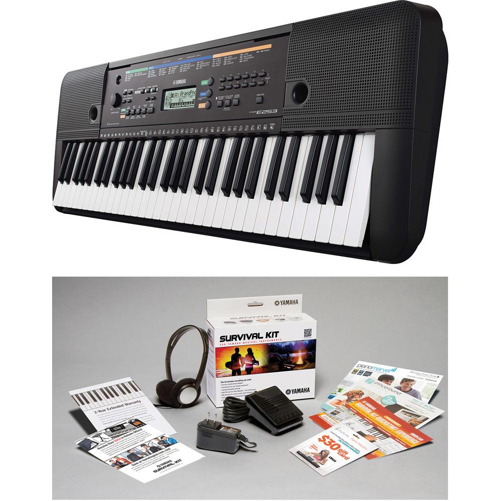 yamaha psr e253 portable keyboard with survival kit psr. Black Bedroom Furniture Sets. Home Design Ideas