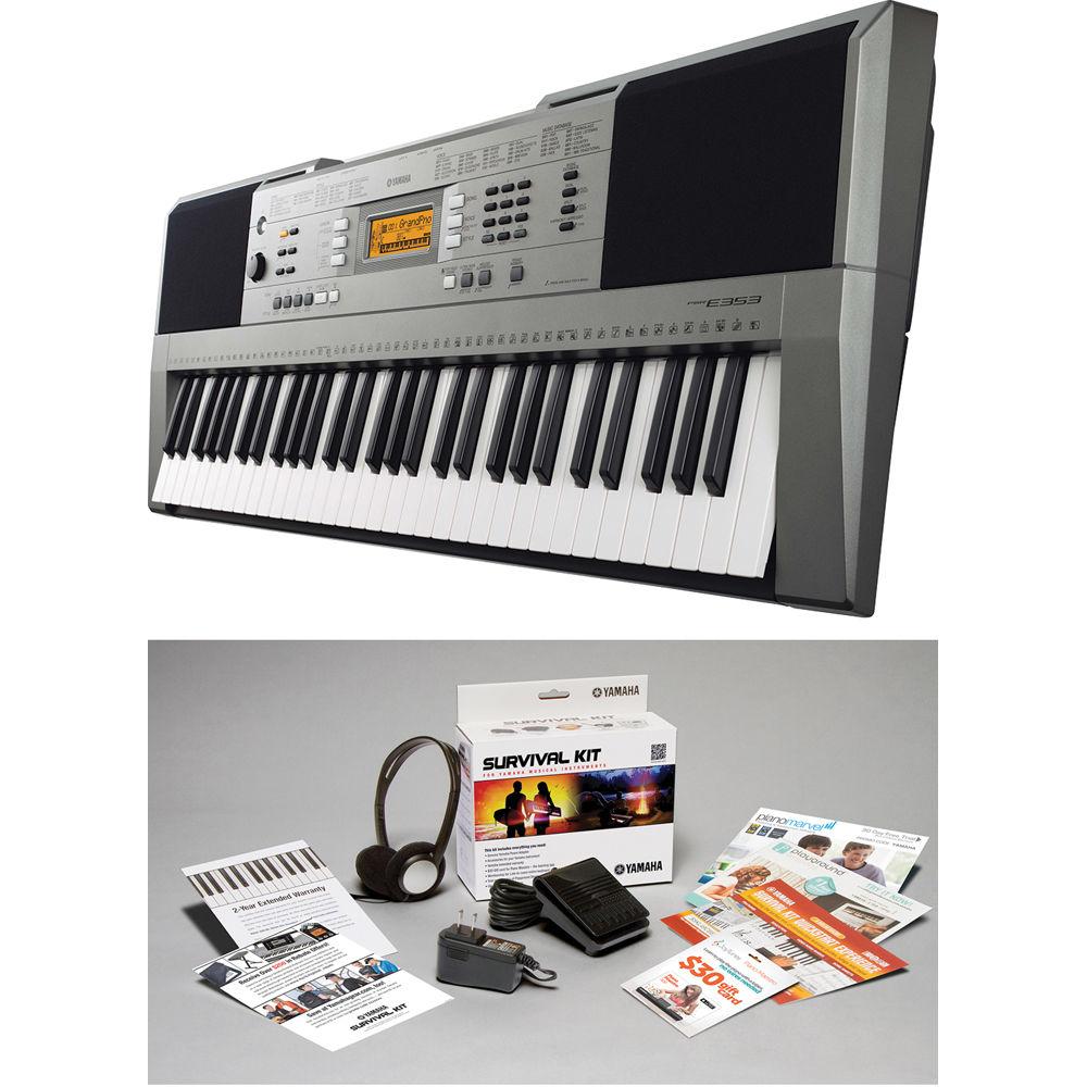 yamaha psr e353 portable keyboard with survival kit. Black Bedroom Furniture Sets. Home Design Ideas