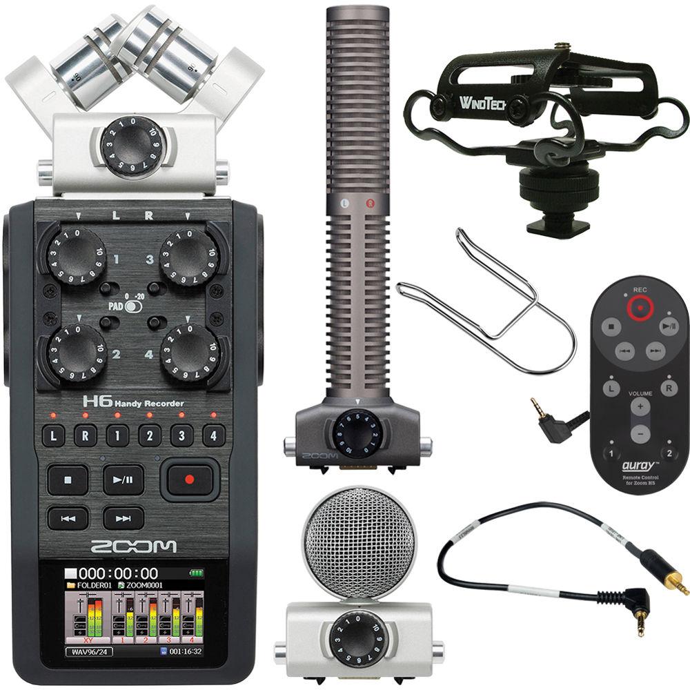 zoom zoom h6 handy recorder on camera package kit b h photo. Black Bedroom Furniture Sets. Home Design Ideas