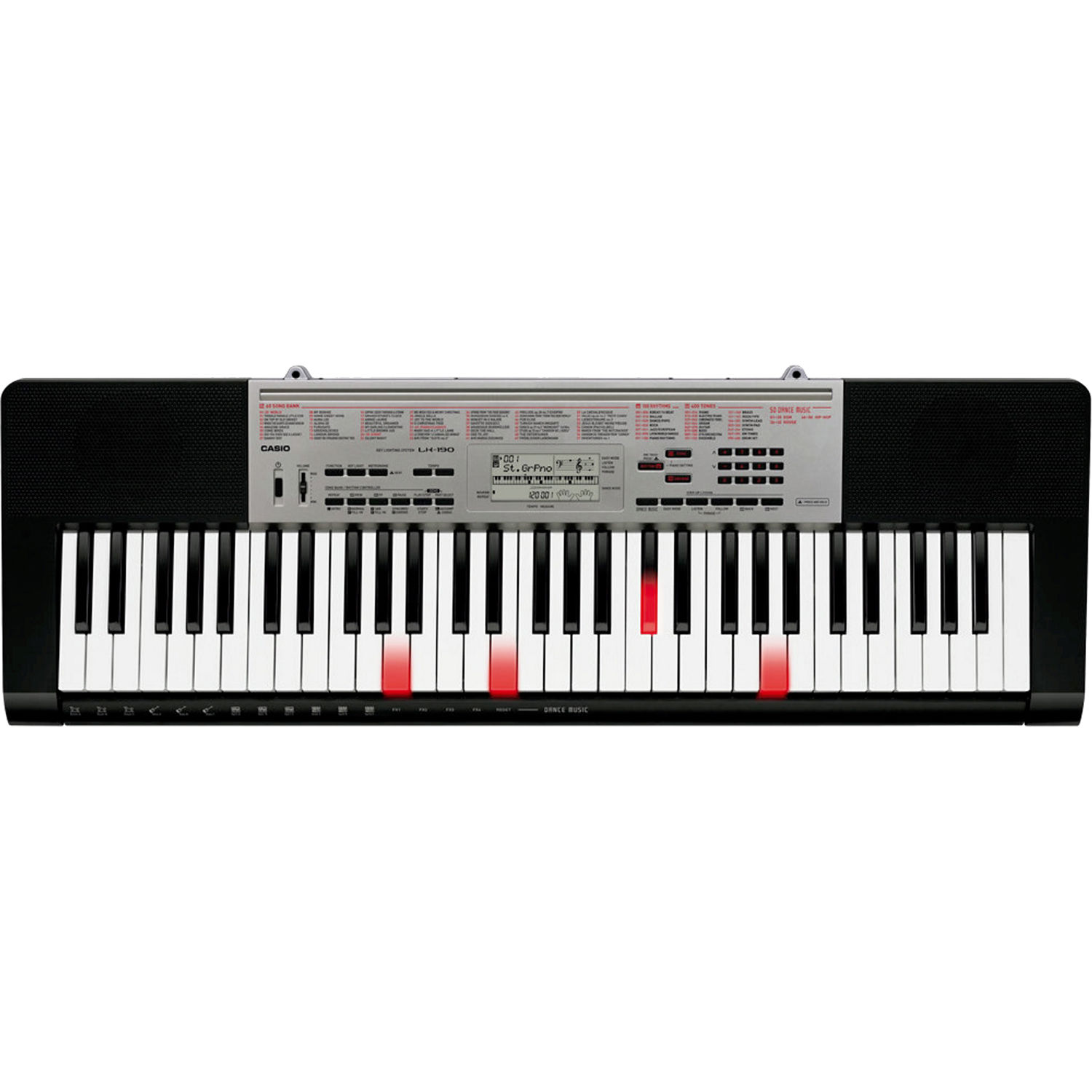 casio lk 190 61 key piano style keyboard lk 190 b h photo video. Black Bedroom Furniture Sets. Home Design Ideas
