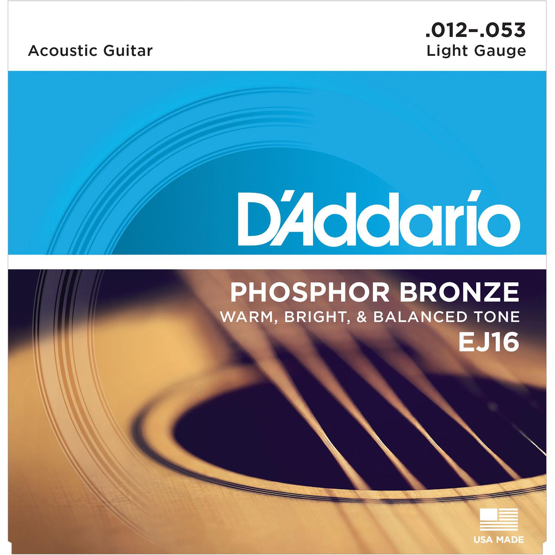 Ej16 Light Phosphor Bronze Acoustic Guitar Strings 6 String Set 12 53 Diagram Daddario