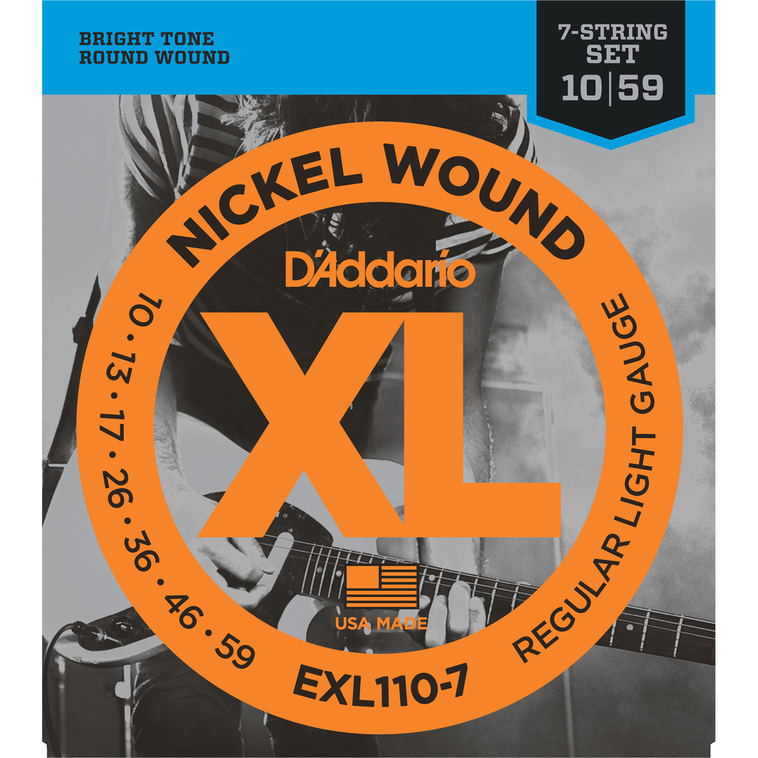d 39 addario exl110 7 regular light xl nickel wound exl110 7 b h. Black Bedroom Furniture Sets. Home Design Ideas