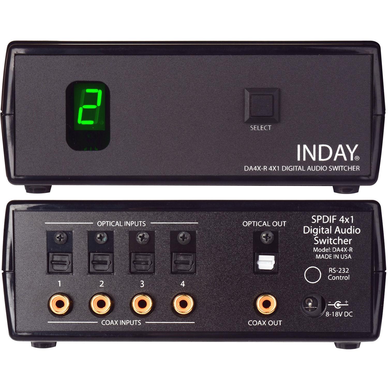 Inday Da4x R Spdif 4x1 Digital Audio Switcher Bh Photo 2 Way Toslink Switch