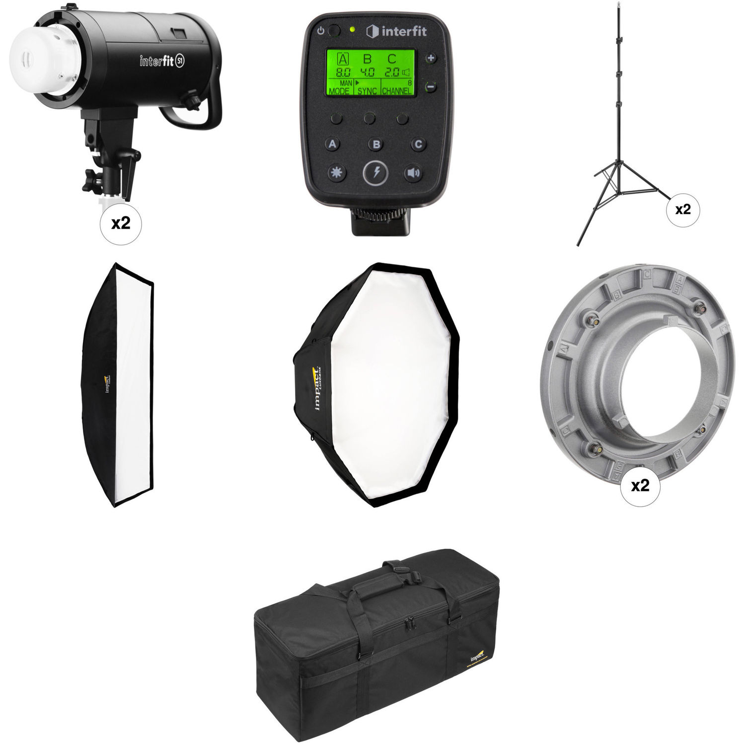 Interfit S1 AC/DC 2-Light TTL Pro Flash Kit for Canon  sc 1 st  Bu0026H : canon lighting system - azcodes.com