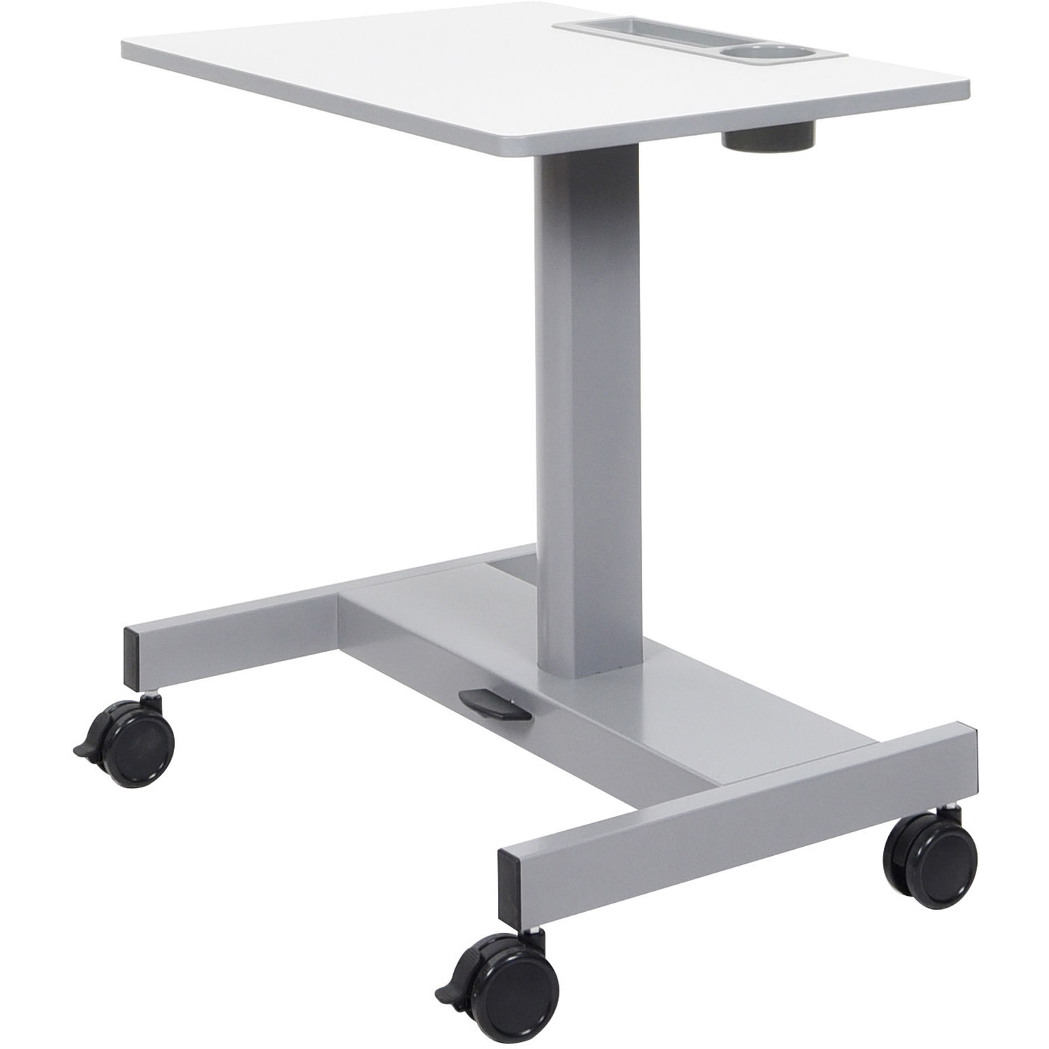 luxor student sitstand desk with pneumatic foot pedal