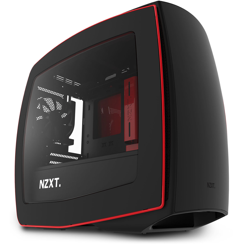 NZXT Manta Mini-ITX Case (Window, Matte Black + Red) CA-MANTW-M2