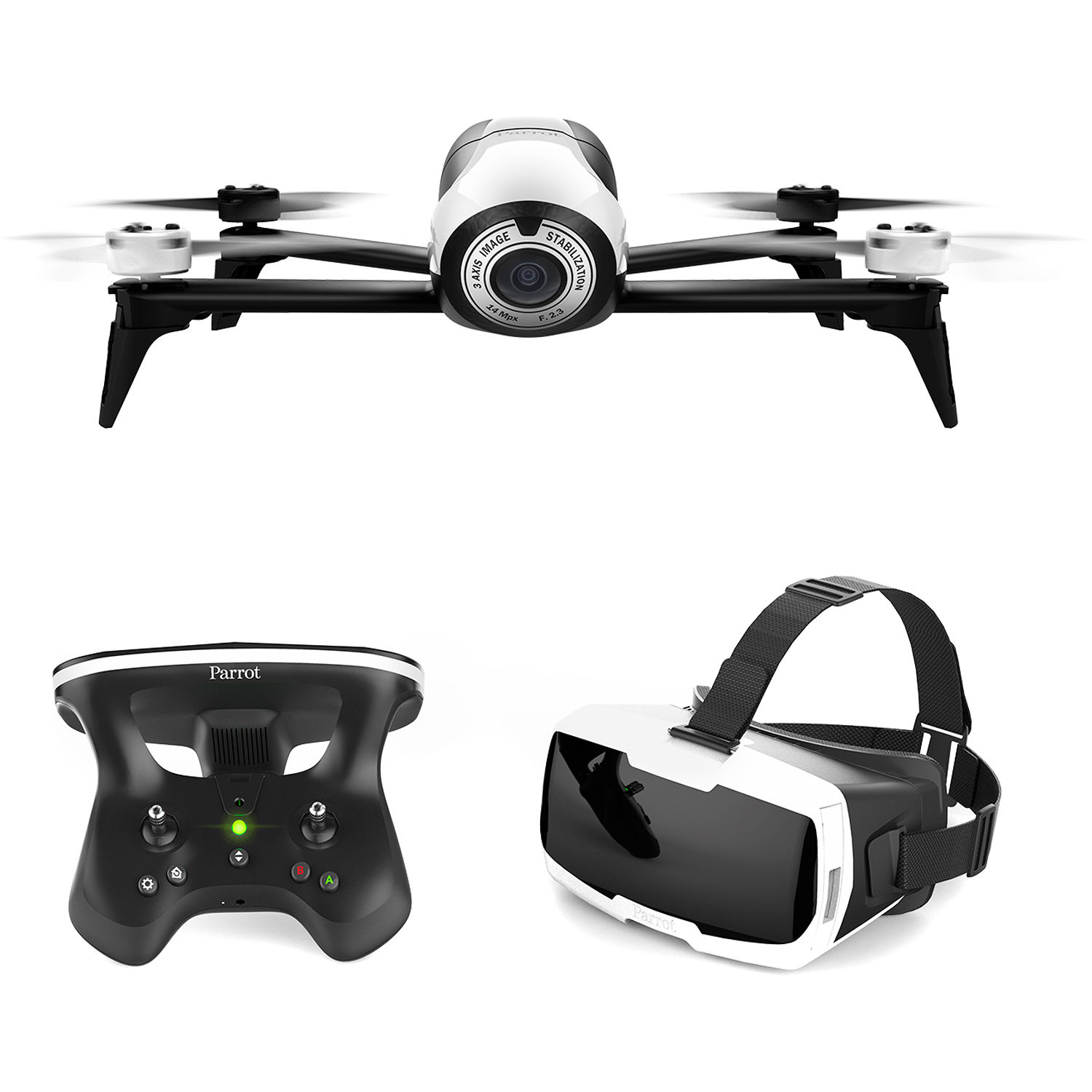 parrot bebop 2 drone with fpv bundle white pf726203 b h photo