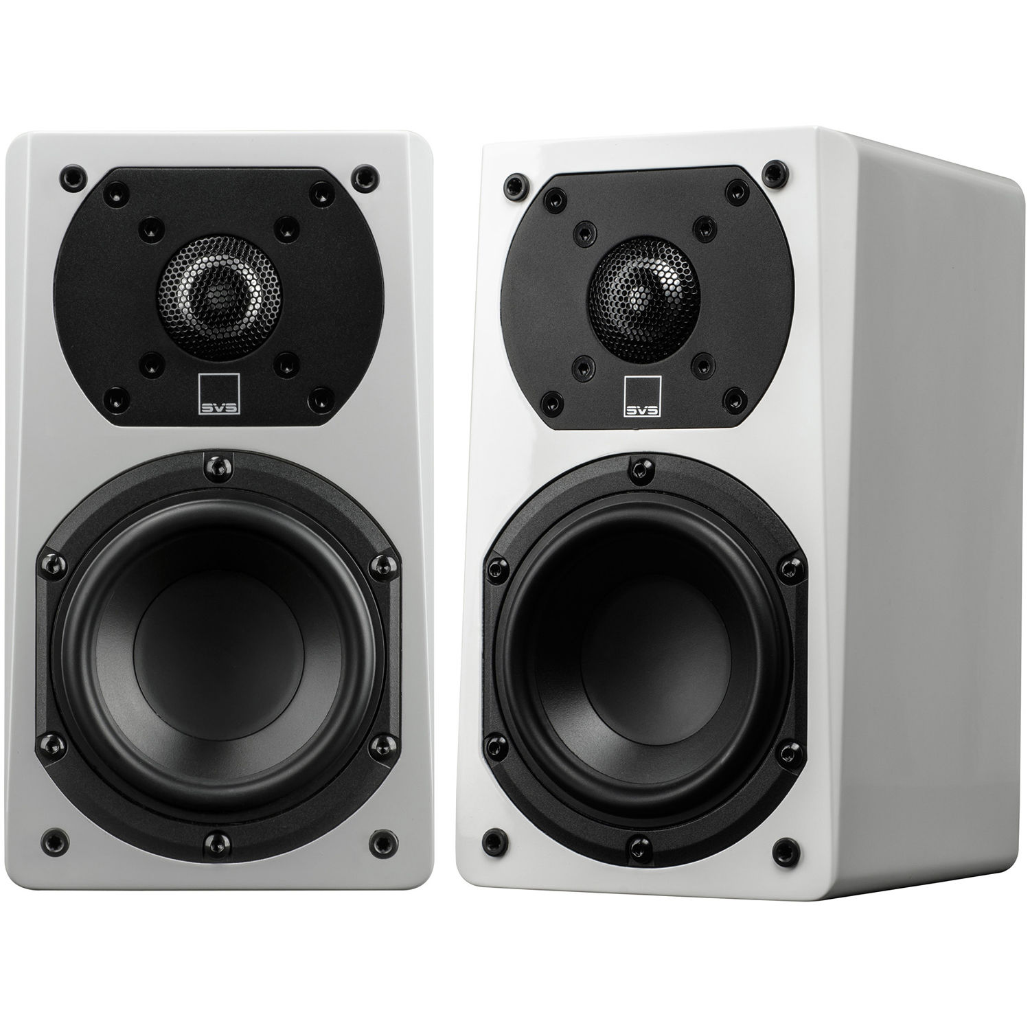 SVS Prime Satellite 2 Way Bookshelf Speakers Piano Gloss White Pair