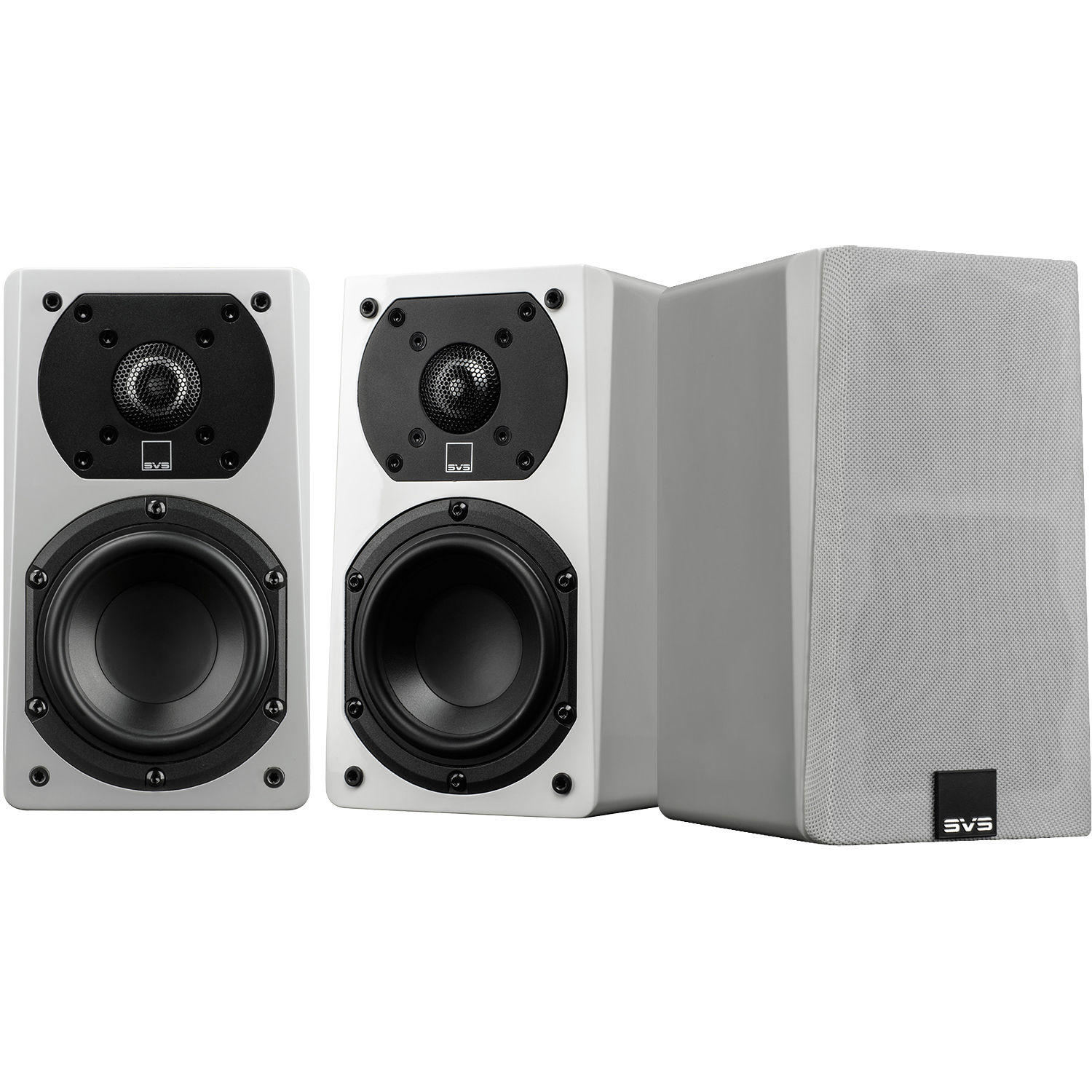 SVS Prime Satellite 2 Way Bookshelf Speakers Piano Gloss White 3 Pack