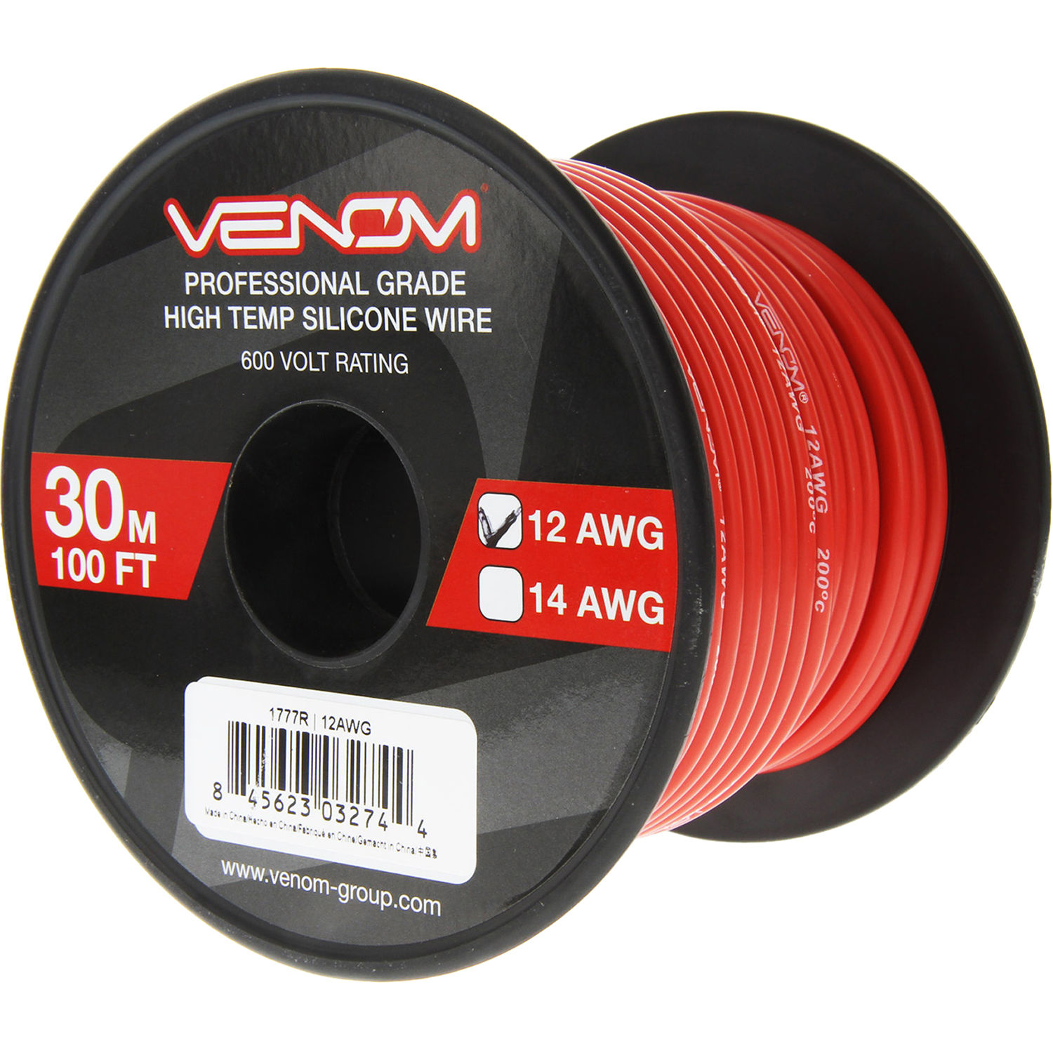 Venom Group 12 Awg Soft Silicone High Strand Count Wire 100 Roll Red