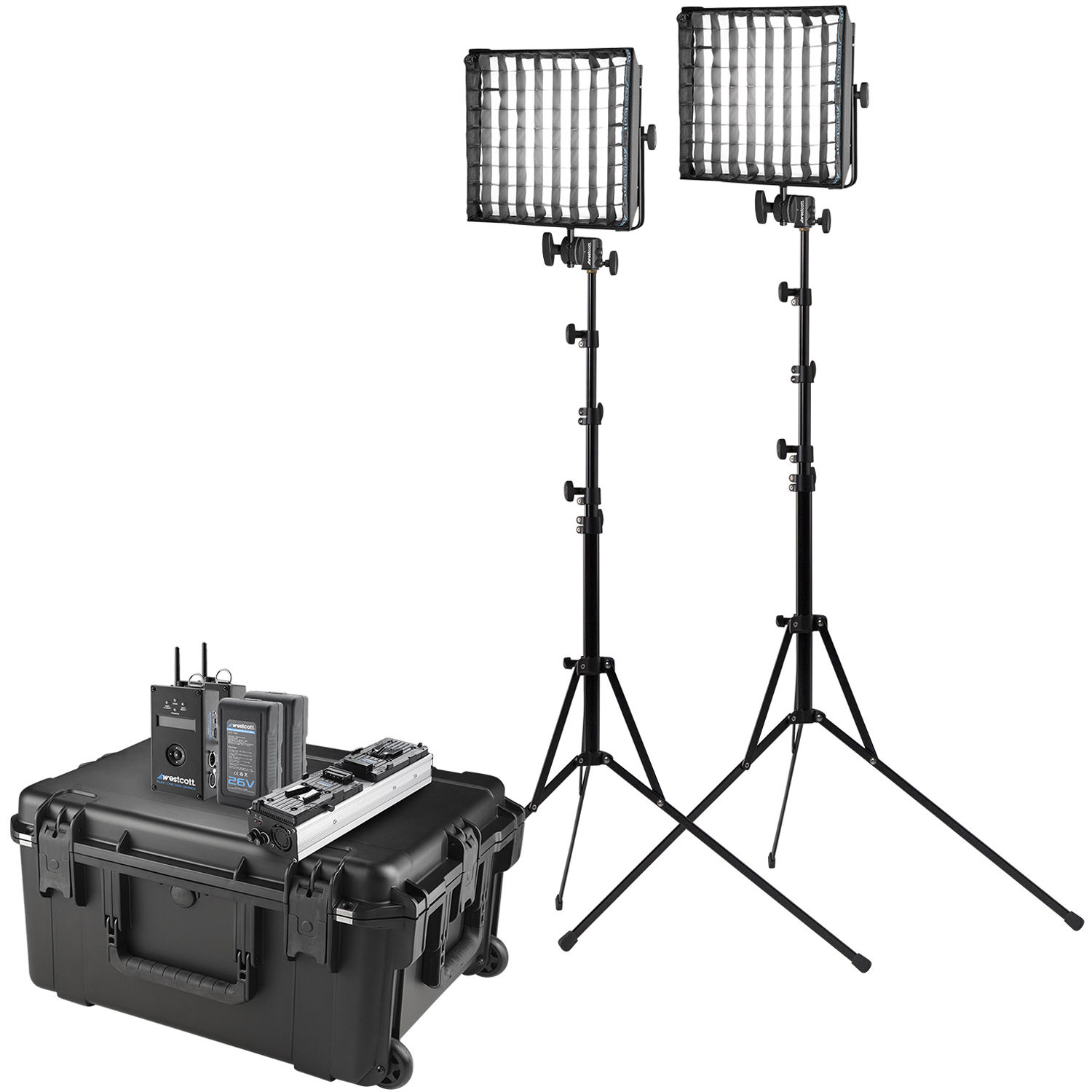Westcott Flex Cine DMX RGBW LED Mat Two-Light Fixture Travel Kit with  Batteries and