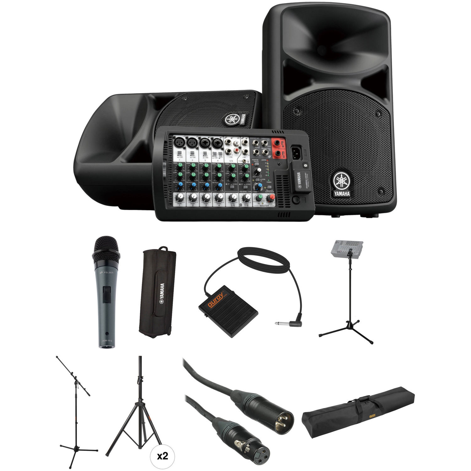 yamaha stagepas 400i kit with mic footswitch stands cases. Black Bedroom Furniture Sets. Home Design Ideas
