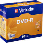 Verbatim DVD-R 4.7GB 16X Azo Surface with Slim Case (10 Pack)