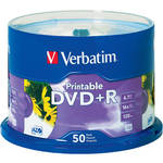Verbatim DVD+R White Inkjet Printable Recordable Disc (Spindle Pack of 50)