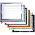 "Dry Lam Pizzazz Decorative Laminating Pouches - Chrome Pack - Classic Frames 9 x 11.5""  (24 Pack)"