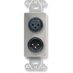 RDL DS-XLR2F Decora Wall Plate with Dual XLR 3-Pin Female Connectors (Stainless Steel)