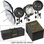 Novatron 1000 W/S 3-Light Kit with Umbrellas, Stands, Soft Case (120V)