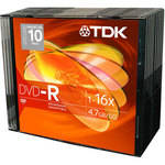 TDK DVD-R 4.7GB, 16X, Recordable Disc (Slim Jewel Case Pack of 10)