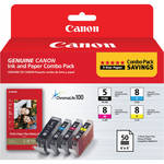 Canon PGI-5/CLI-8 Ink Tank Combo Pack with PP-201 Photo Paper