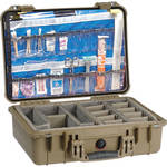 Pelican 1500EMS Watertight ATA Hard Case with EMS Organizer and Dividers (Desert Tan)