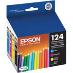 Epson T124120-BCS 124 Combo-Pack Moderate Capacity Ink Cartridges (Cyan, Magenta, Black, Yellow)
