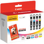 "Canon CLI-226 Four Color Ink Tank Pack with 50 Sheets of 4.0 x 6.0"" Photo Paper"