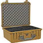 Pelican 1554 Waterproof 1550 Case with Black Divider Set (Desert Tan)