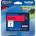 "Brother TZe451 Laminated Tape for P-Touch Labelers (Black on Red, 0.94"" x 26.2')"
