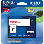 "Brother TZe252 Laminated Tape for P-Touch Labelers (Red on White, 0.94"" x 26.2')"