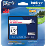"Brother TZe232 Laminated Tape for P-Touch Labelers (Red on White, 0.47"" x 26.2')"