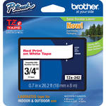 "Brother TZe242 Laminated Tape for P-Touch Labelers (Red on White, 0.7"" x 26.2')"