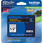 "Brother TZe334 Laminated Tape for P-Touch Labelers (Gold on Black, 0.47"" x 26.2')"
